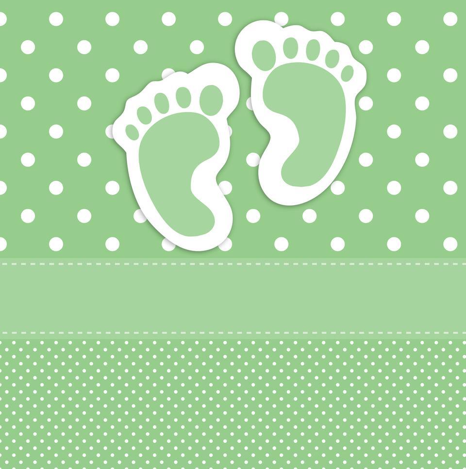 婴儿脚印名片模板