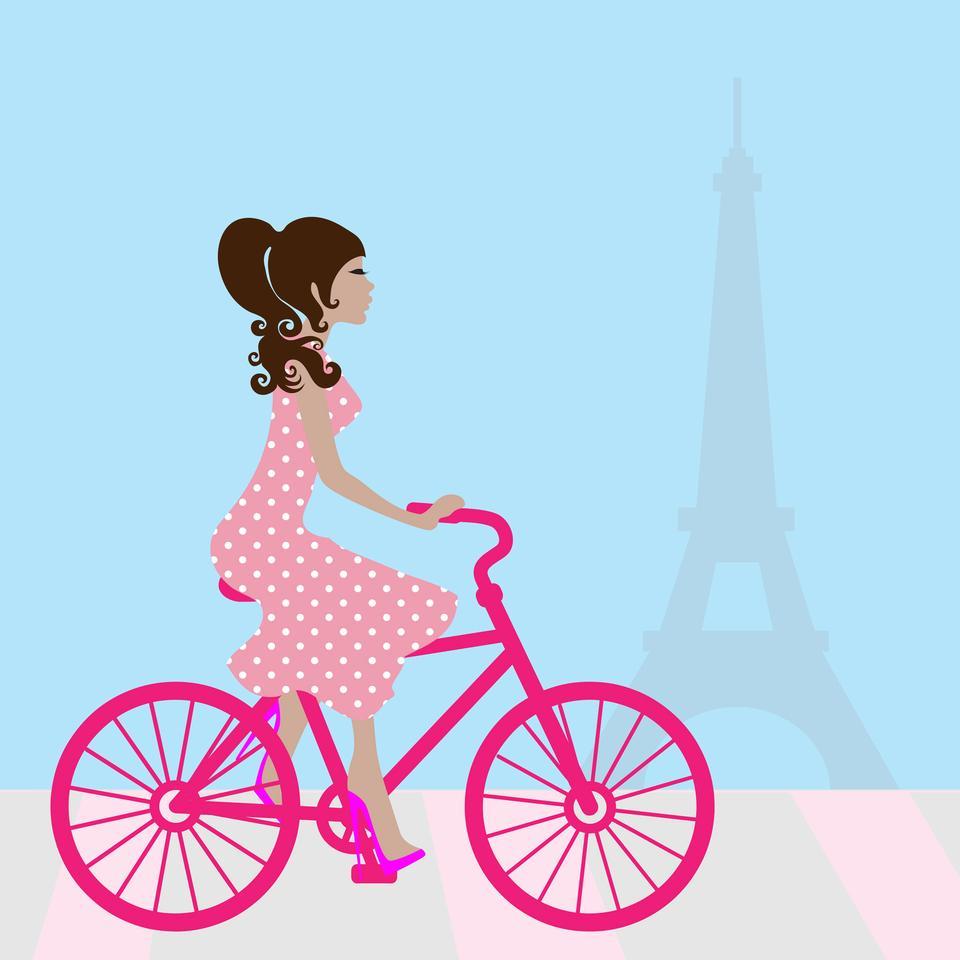 パリのガールサイクリング