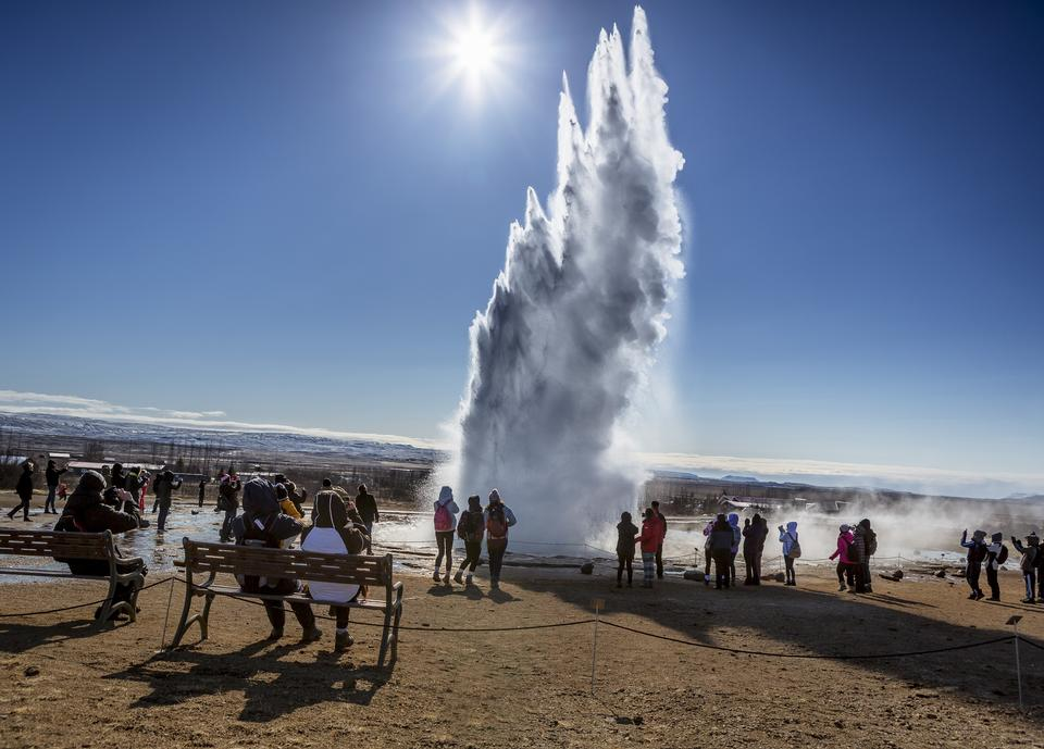 Geyser Strokkur eruption in the Geysir area Iceland