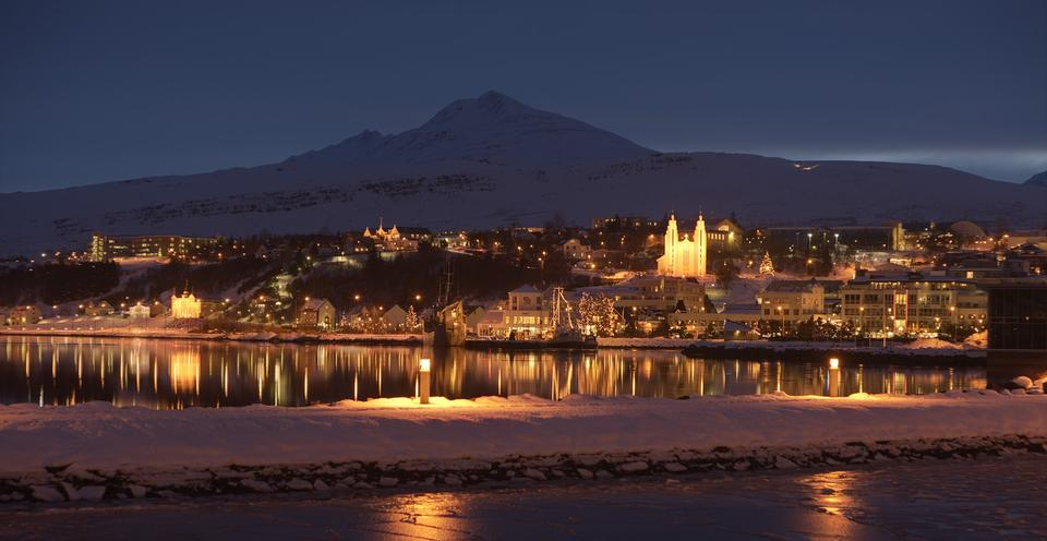 Night Town scape of Iceland