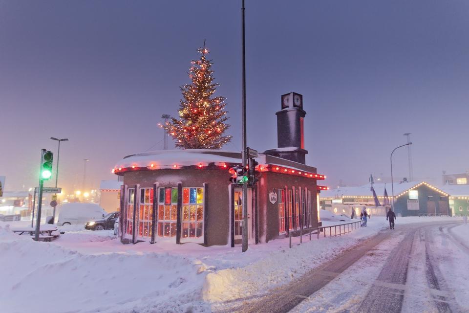雪域大道與裝飾著聖誕彩燈樹