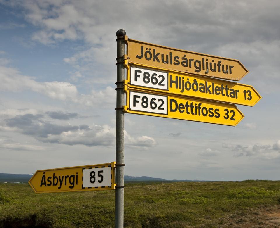 señal de tráfico Asbyrgi