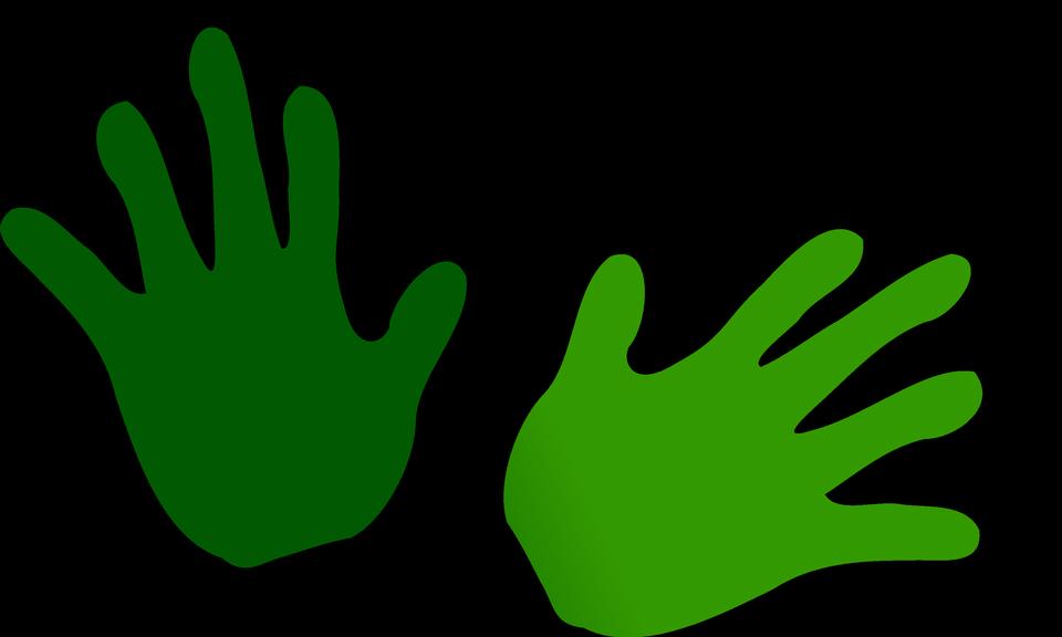 녹색 손을 인쇄의 그림
