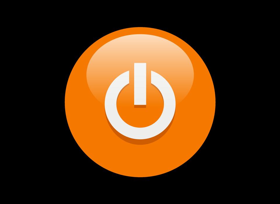 오렌지 전원 버튼 아이콘의 그림