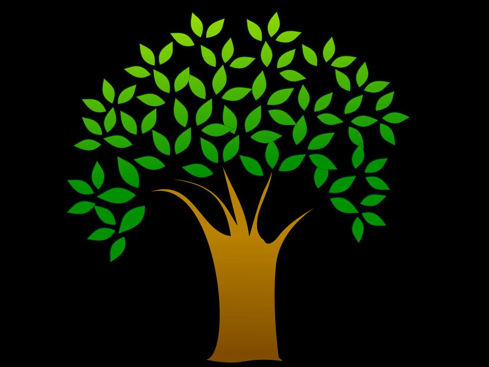 葉で木のイラスト