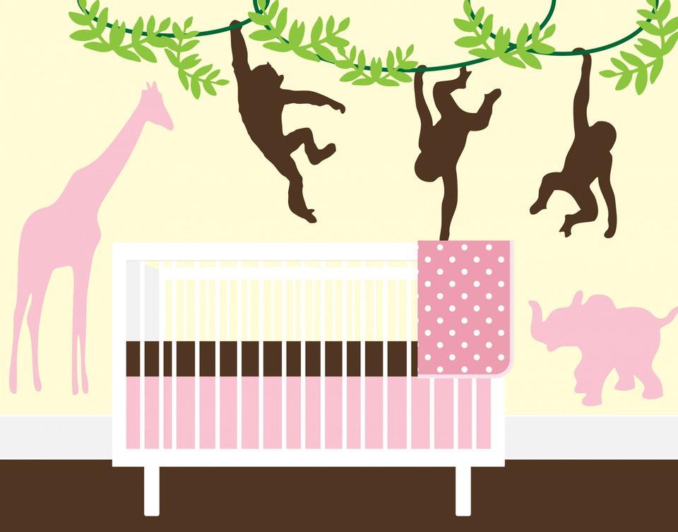 Cute Baby Mädchen Schlafzimmer oder Kinderzimmer-Illustration
