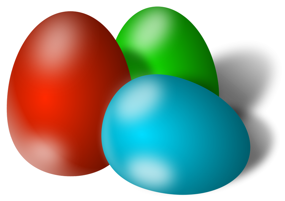 Illustration Of Three Colored Easter Eggs