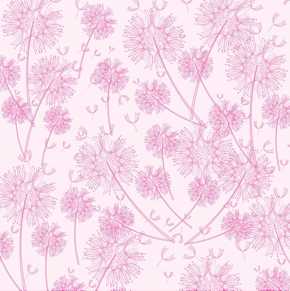 Pink dandelion wallpaper background for scrapbooking
