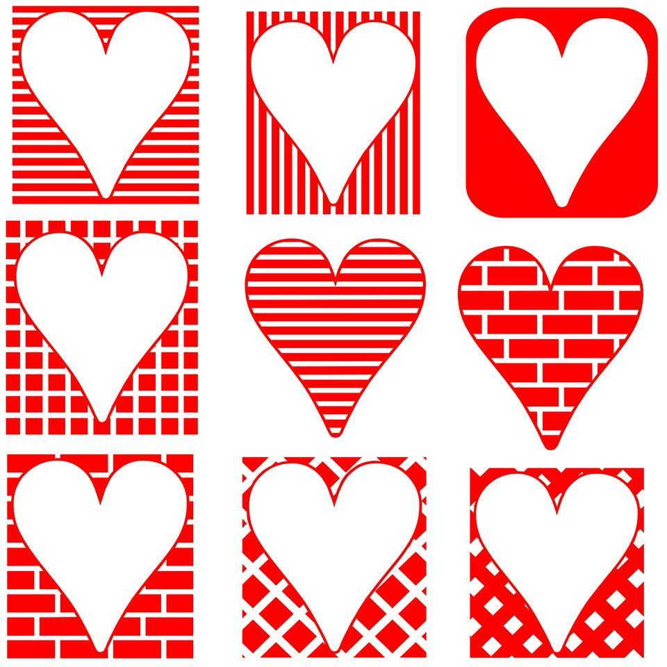 Red corações Silhuetas Red corações Silhuetas