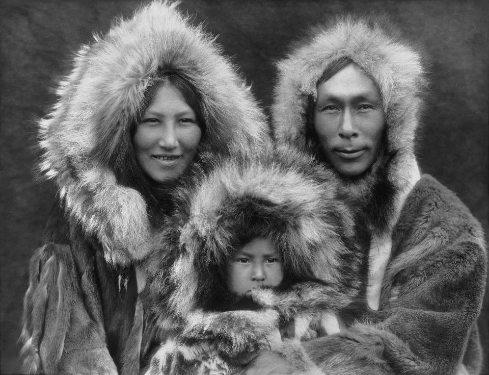 Eskimo mother, father, and son  in Noatak, Alaska