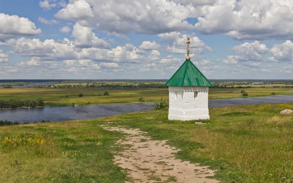 奧卡河從村Konstantinovo,梁贊州,俄羅斯