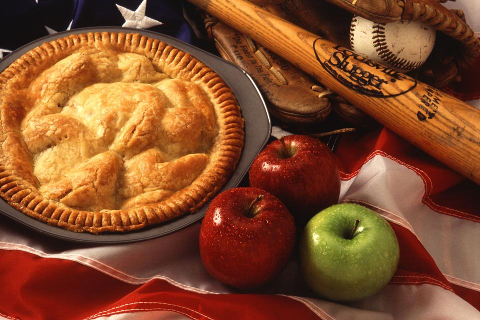 An American Pie Display With Apples