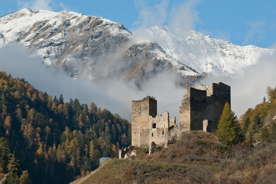 Tschanuff castle Piz Spadla mountain, in Switzerland