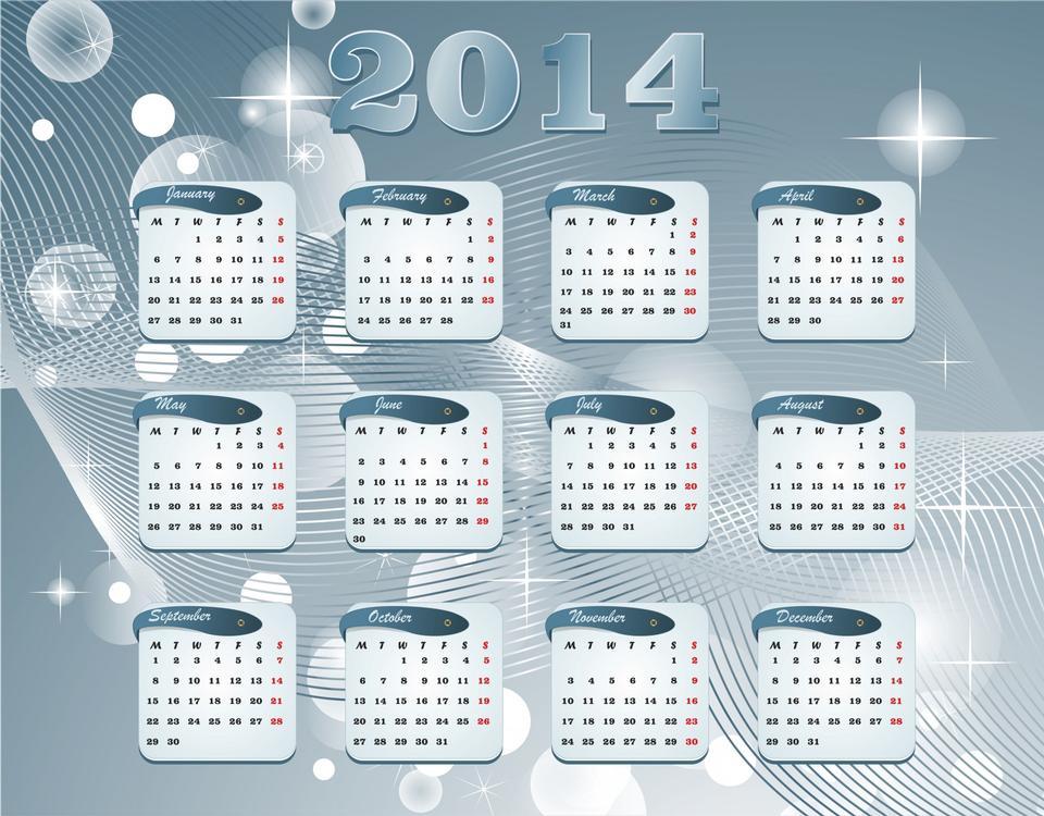 日曆為2014年