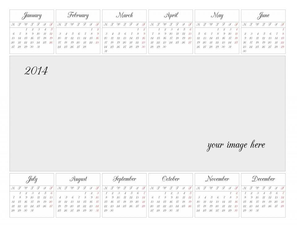 2014年のカレンダーグリッド