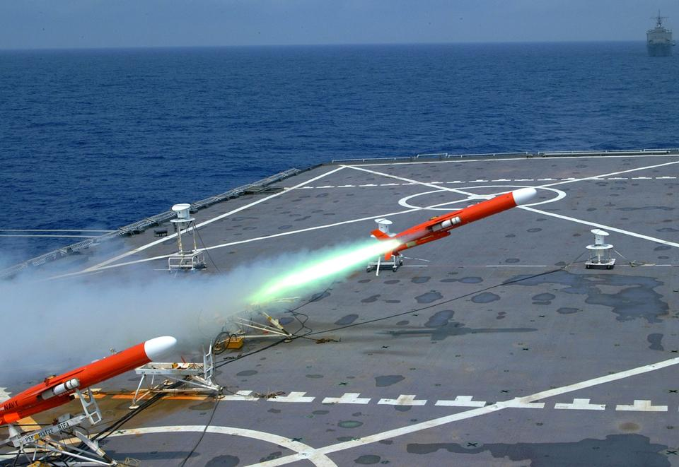 BQM-74E target drone is launched from the flight deck