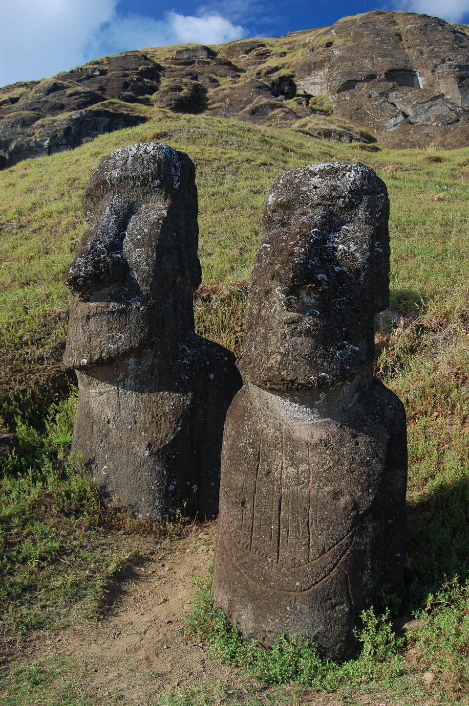 Moai at the Rano Raraku quarry