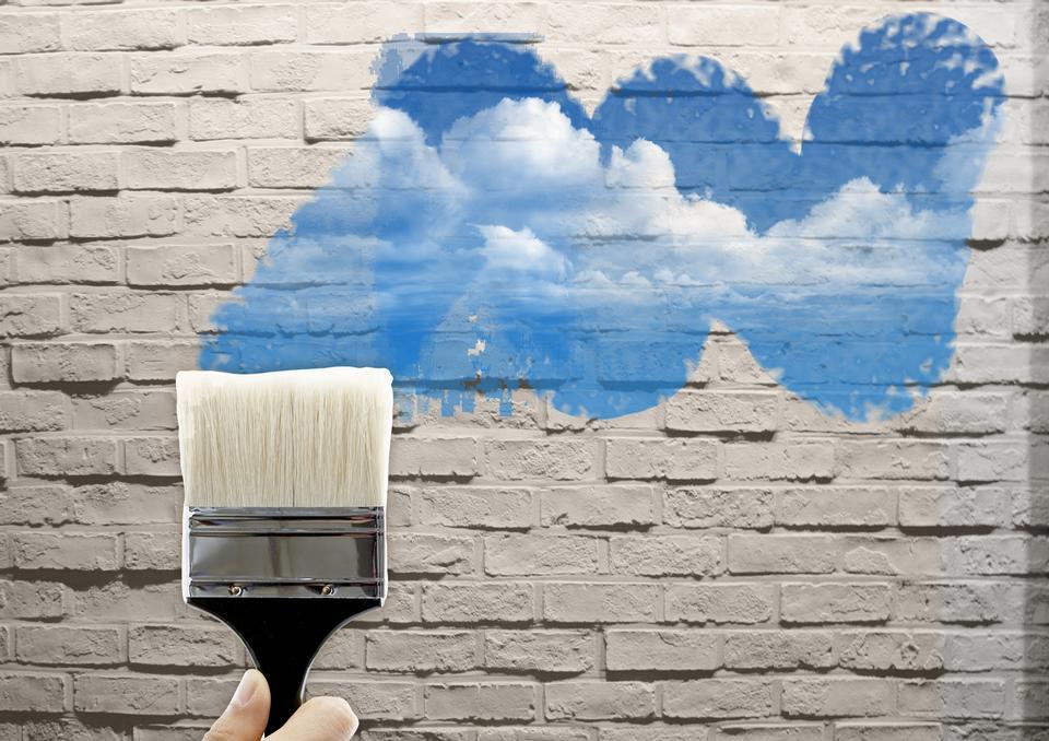 油漆刷在墙上画
