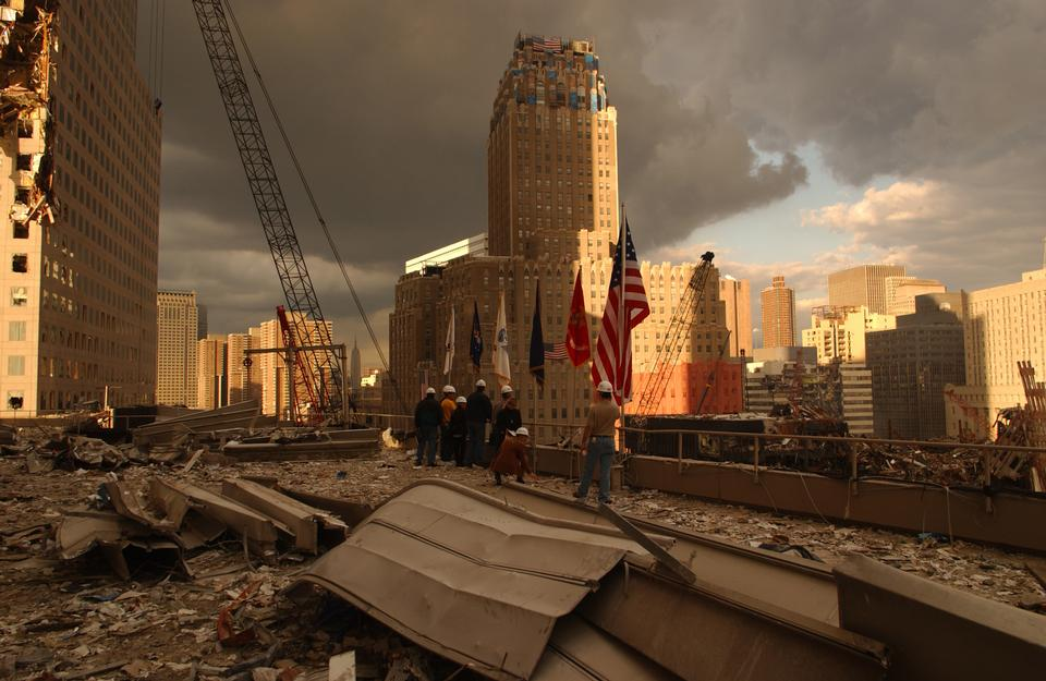 Debris on surrounding roofs at the site of the World Trade Center