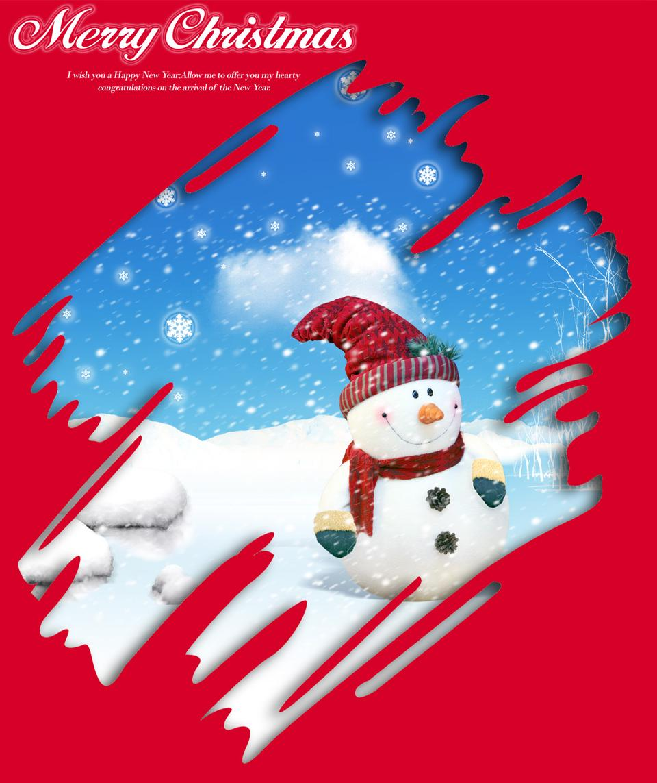 雪人的聖誕賀卡