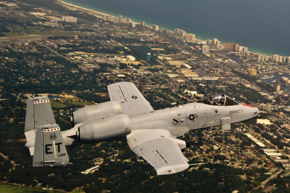 An A-10C Thunderbolt II flies over Florida's Gulf Coast