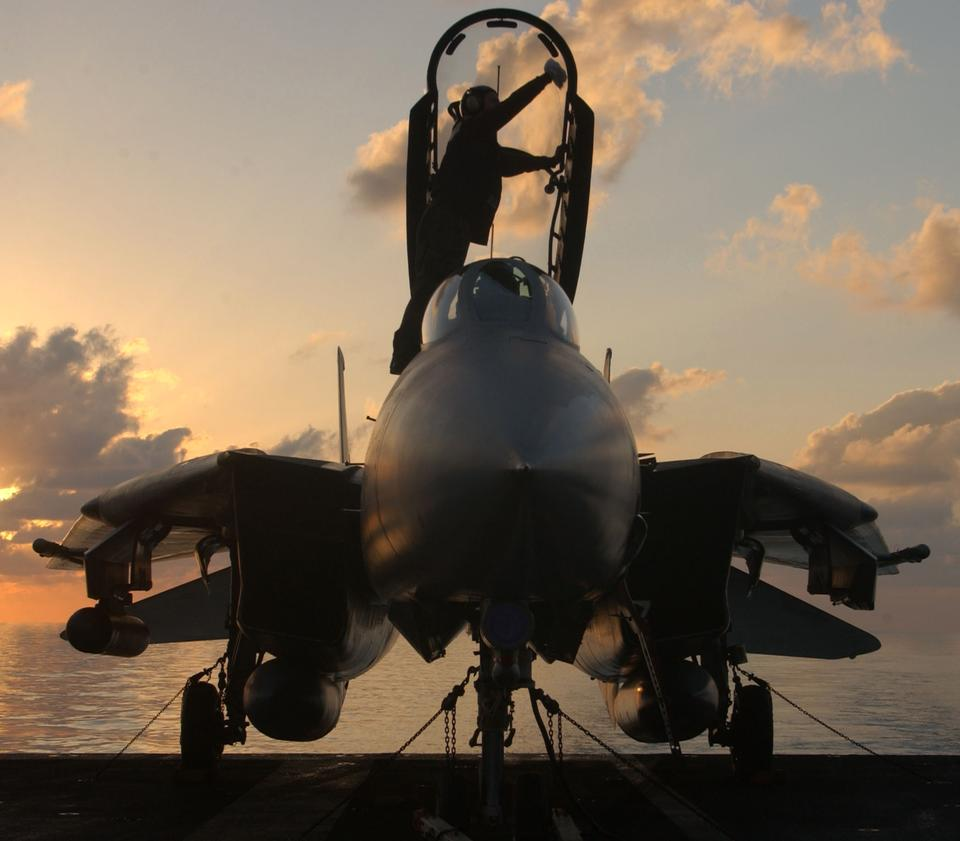 一名船員在清潔的F-14雄貓樹冠