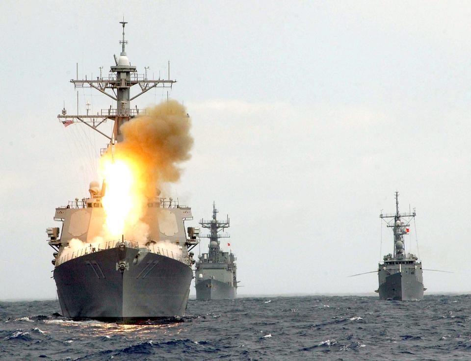 The guided missile destroyer USS O'Kane launches an SM-2