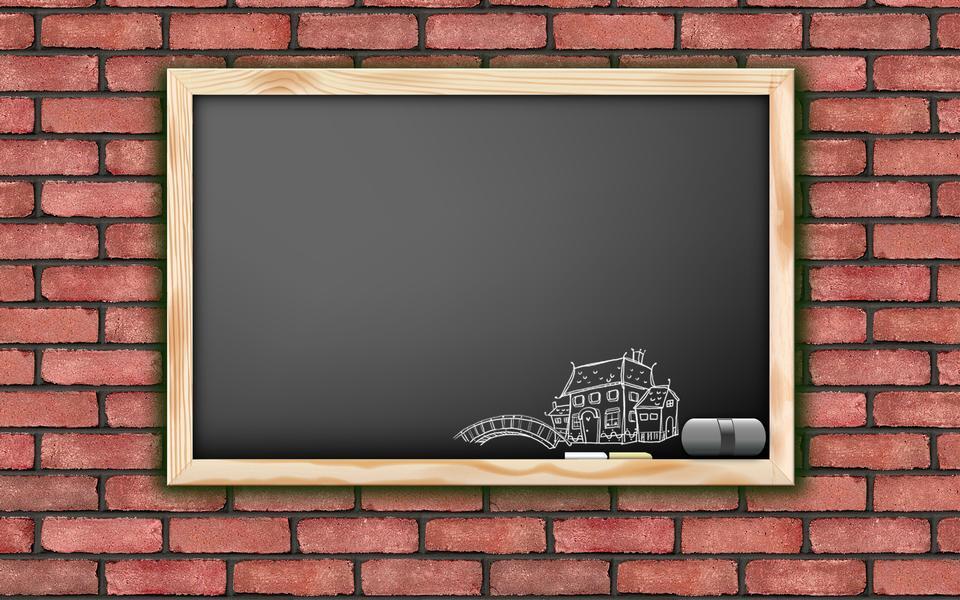 黒板上の城跡のデッサン