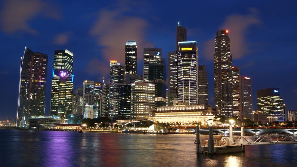 Singapore skyline de la ville la nuit