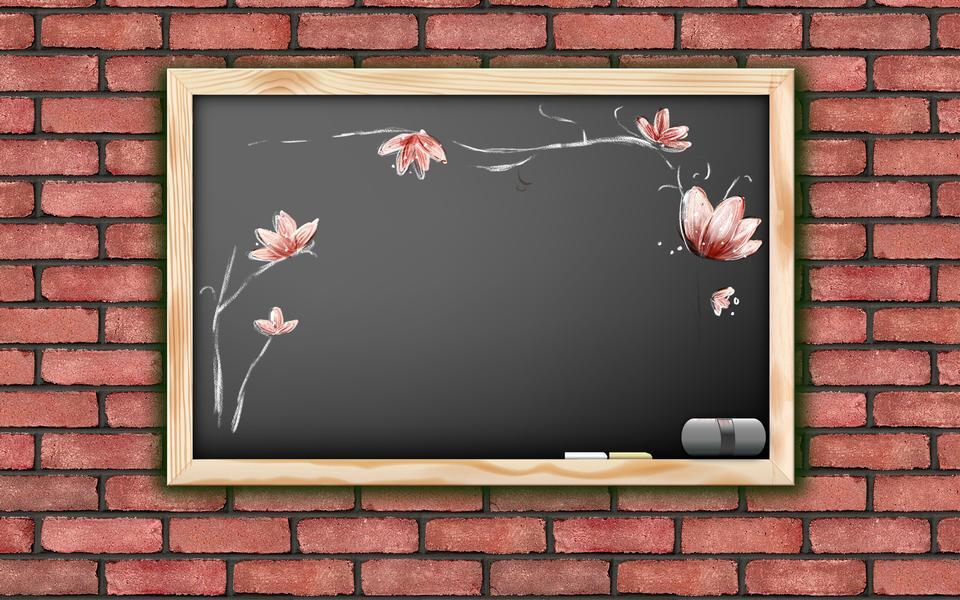 黒板上の花のデッサン