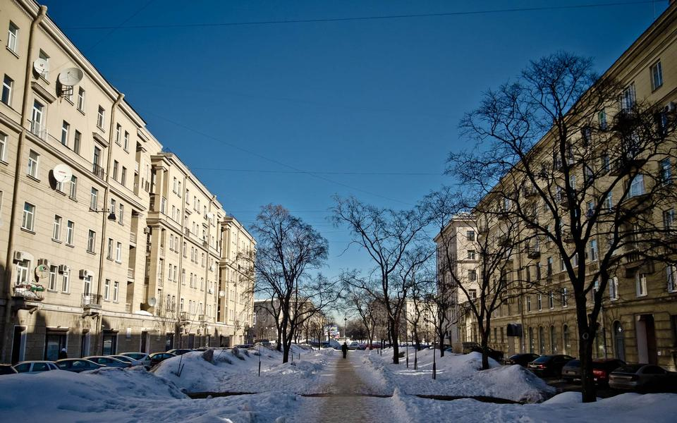 Frosty evening in St. Petersburg, Russia