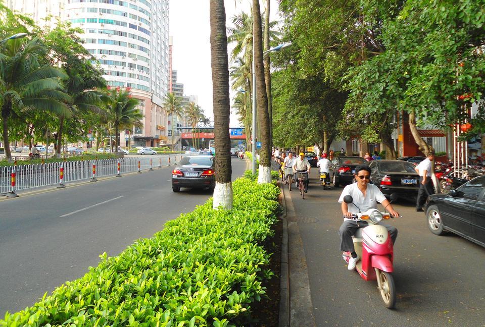 Street and bike lane, Haikou City