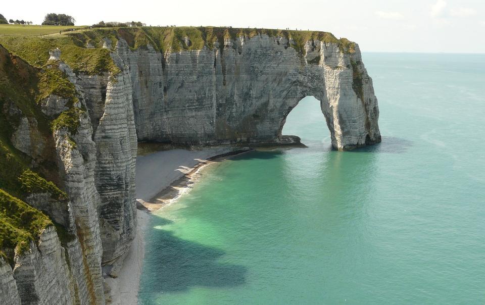 懸崖埃特爾塔諾曼底法國侵蝕石灰石