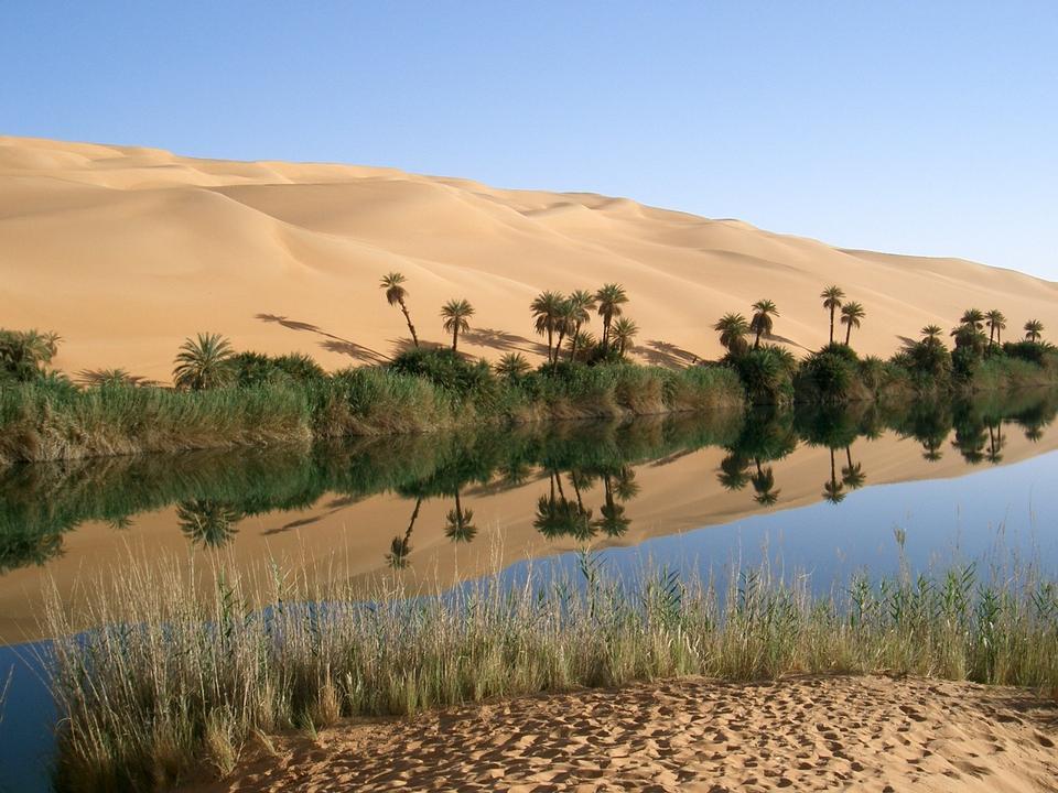 リビア美しく奇妙砂漠のオアシス