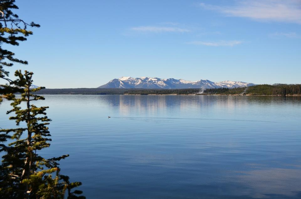 Yellowstone Lake View Acqua Shoreline Nature Scenery