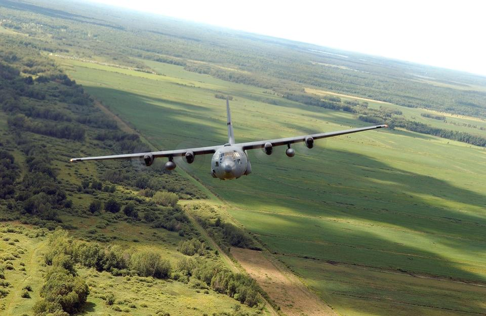 Aircraft C-130 flying in Minnesota