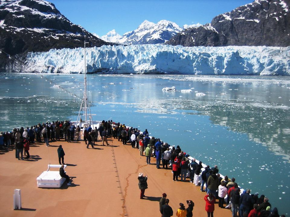 Cruise ship approaches Margerie Glacier Alaska