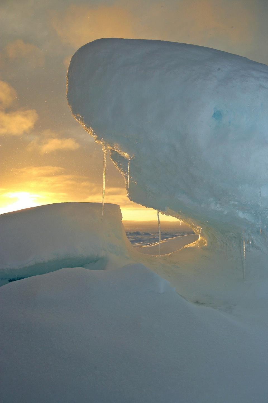 지리적 북극 압력 능선 녹아 물