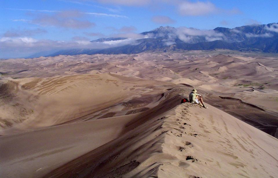 Hiker in Great Sand Dunes Wilderness