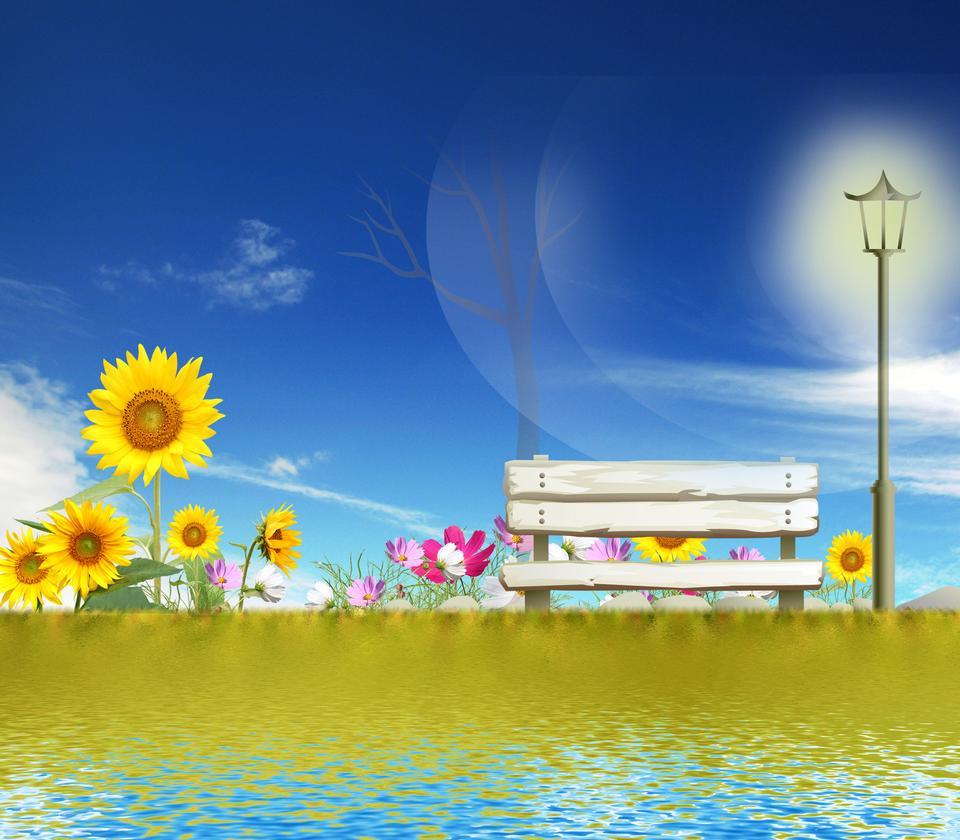 Campo de girasol con el cielo azul