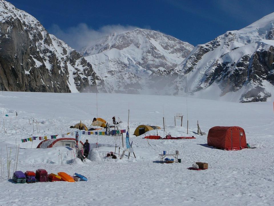 Basecamp on the Southeast Fork of the Kahiltna Glacier