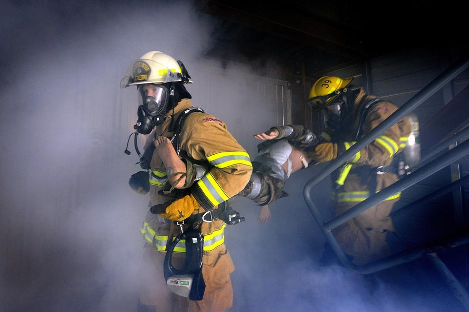 Firefighters attack a  fire