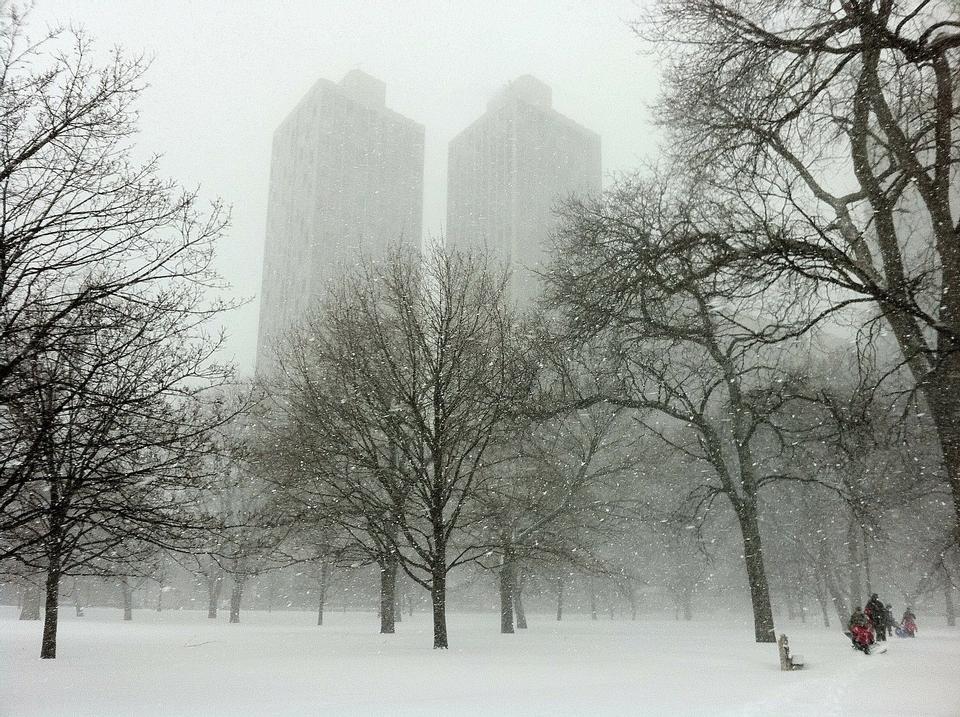 parc paysager dans le brouillard tôt le matin Chicago