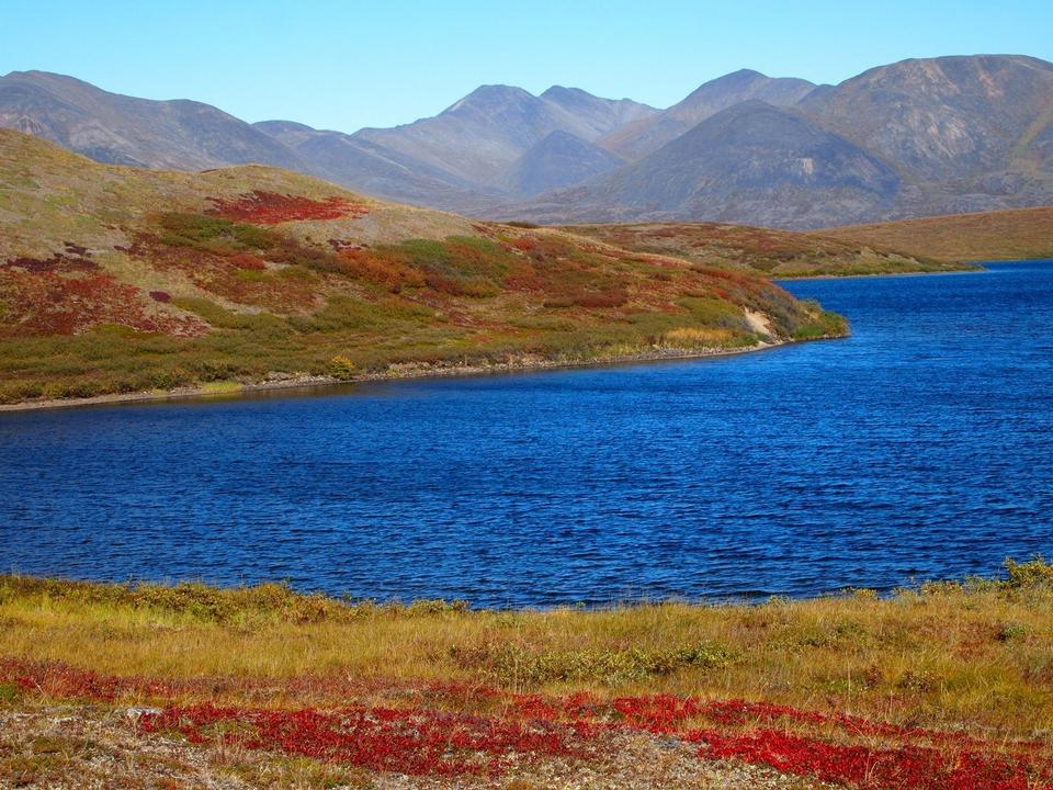 Blue lake and red tundra
