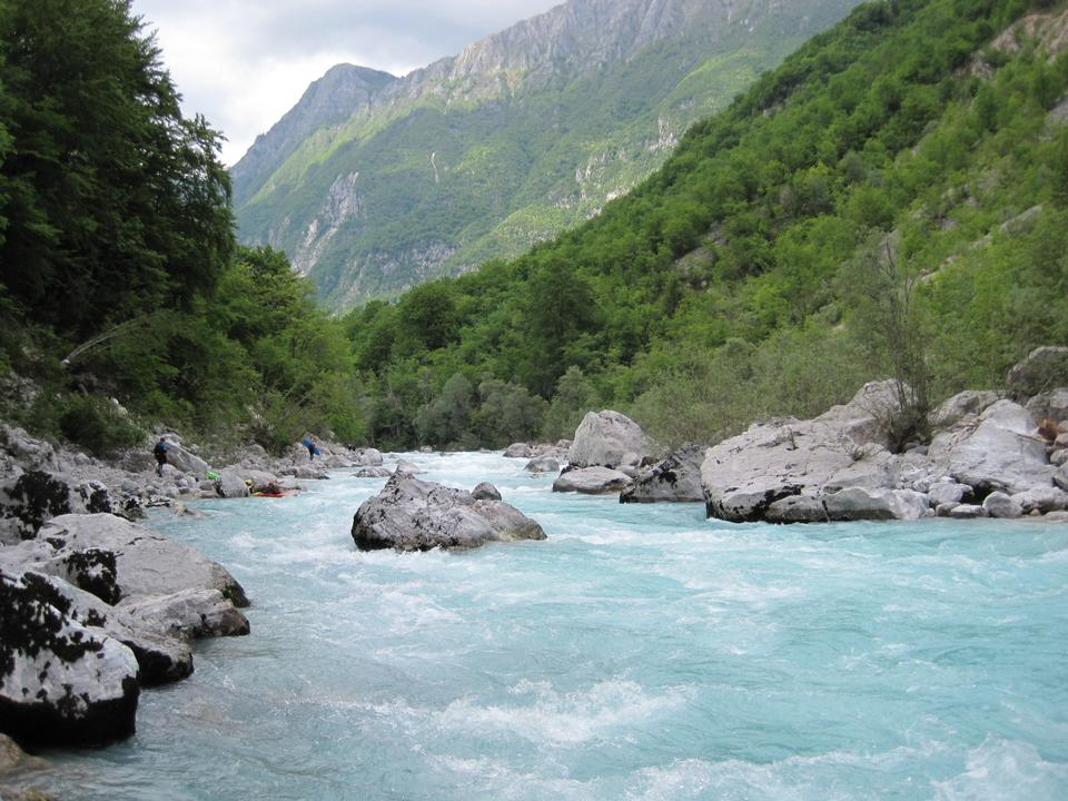 The beautiful turquoise Soca river in the Triglav National Park i