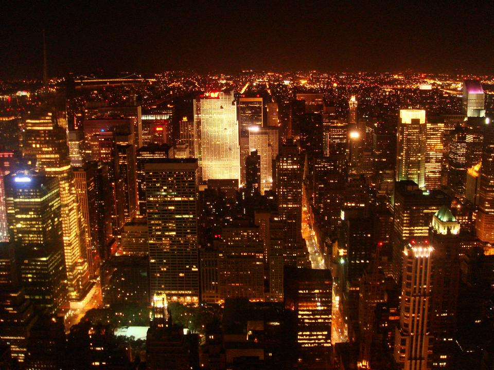 New York City skyline at night with Empire State Building