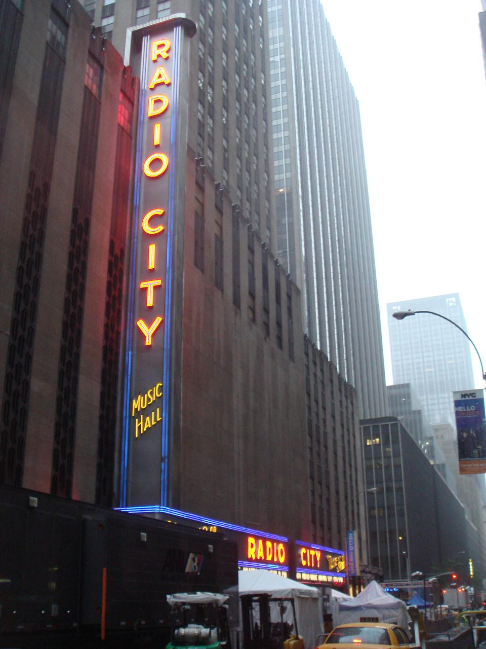 Neon lights of Radio City Music Hall at Rockefeller Center, New Y