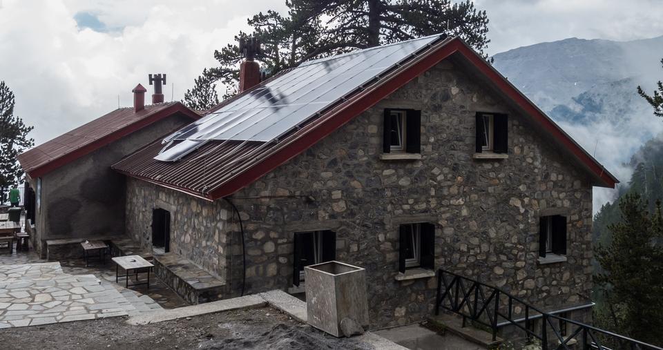 Climbers at Spilios Agapitos mountain house  in Litohoro, Greece