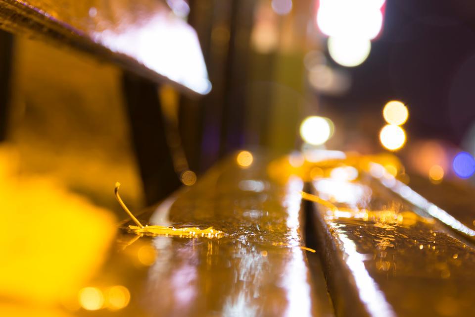 night, autumn bench city, blurred autumn background