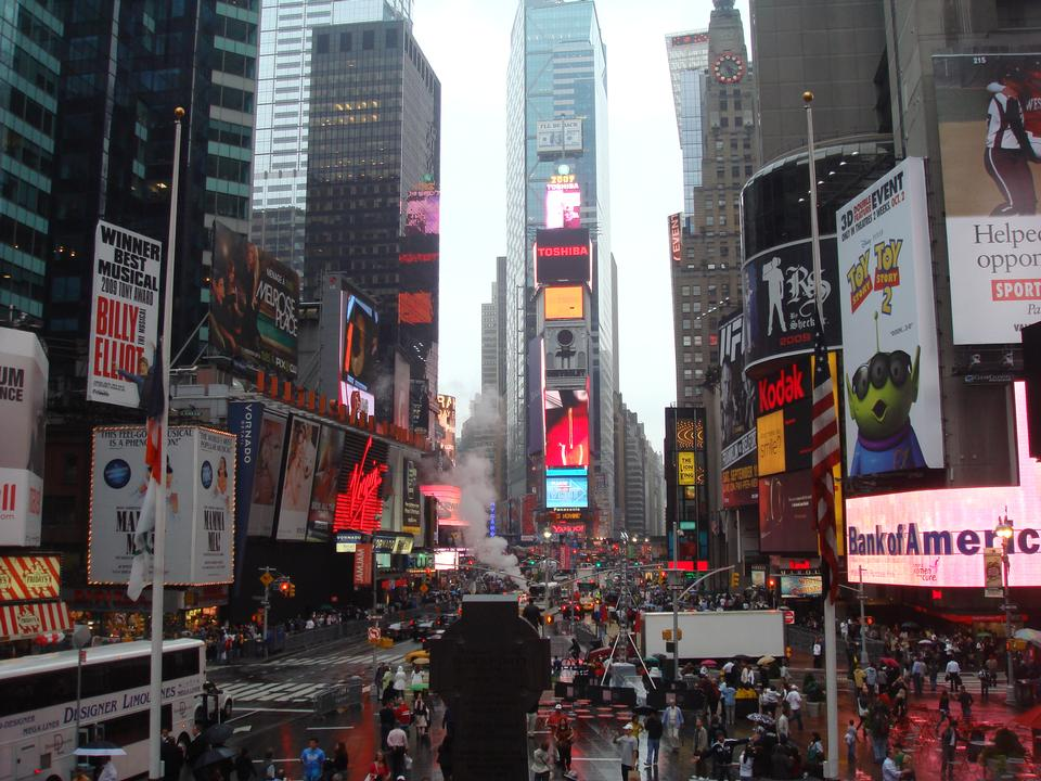 Times Square, featured with Broadway Theaters and animated LED